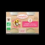 Babybio Petits Pots Pomme d'Aquitaine, Banane et Lait de Coco 2X130g