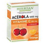 Herbesan Acérola 1000mg Vitamine C Orange 180mg 30 comprimés à Croquer