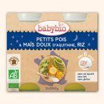 Babybio Petits Pots Bonne Nuit Petits Pois, Maïs Doux, Riz 2X200g