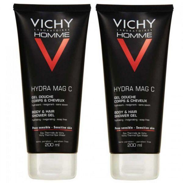 Homme Hydra Mac C Gel Douche Cheveux et Corps 2x200ml au meilleur prix| Vichy