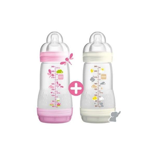 Biberon Anti-Colique Easy Start 260ml Lot de 2 Rose/Blanc à prix bas| MAM