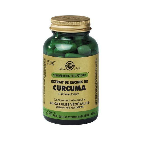 Extrait de Racines de Curcuma 60 Gélules Végétales moins cher| Solgar
