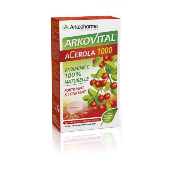 Acerola 1000 30 cp à croquer au meilleur prix| Arkopharma