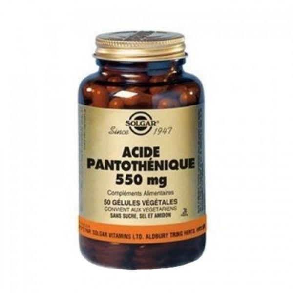 Vitamine B5 550mg (acide pantothénique) 50 gélules végétales à prix discount| Solgar
