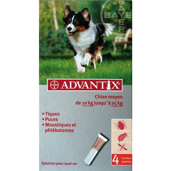 chien moyen de 10 kg à 25kg 4 pipettes à prix bas  Advantix