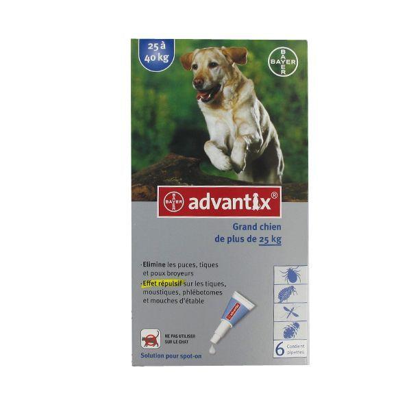 grand chien de plus de 25kg 6 pipettes moins cher| Advantix