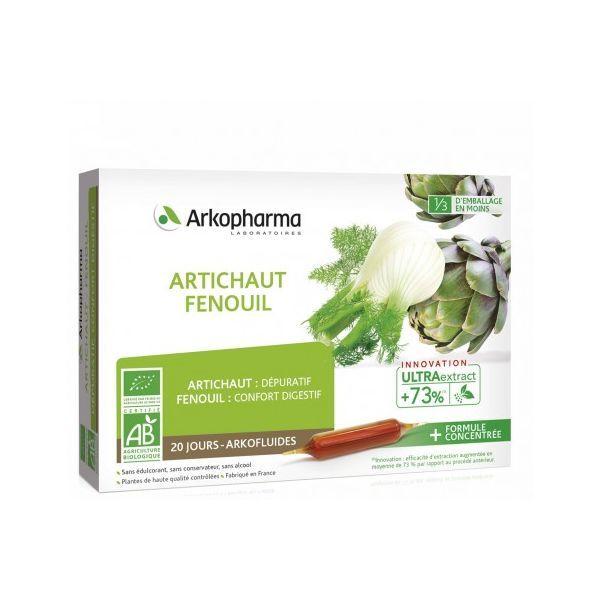 Arkofluides Bio à l'artichaut et au fenouil pour digestion.