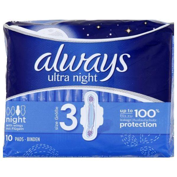 Serviettes Ultra Nuit x10 à prix bas| Always