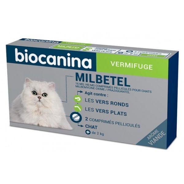 Vermifuge Milbetel Chat 2 comprimés Arôme Viande. à prix bas| Biocanina
