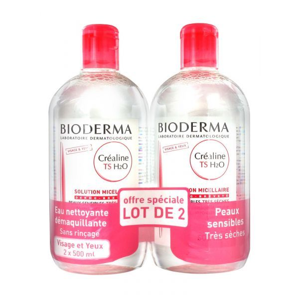 Créaline TS H2O Solution Micellaire 500ml X2 à prix discount  Bioderma