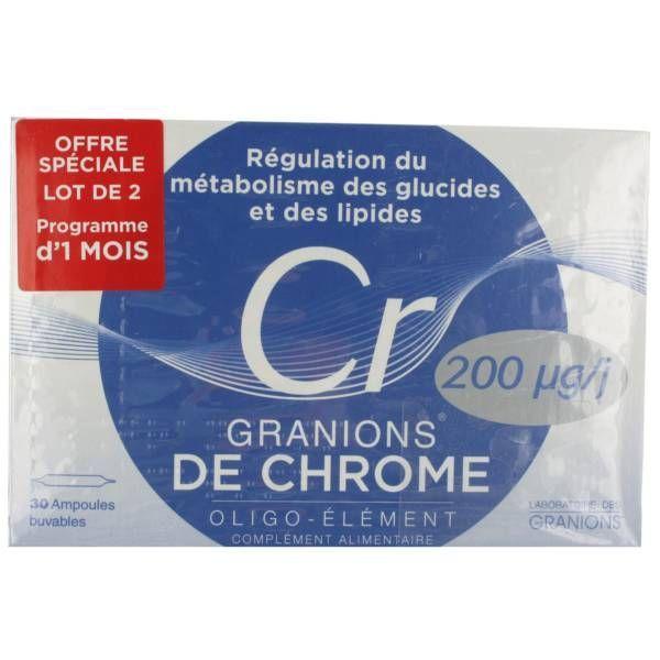 Granions de Chrome 200µg lot de 2X30 ampoules à prix discount| Laboratoire des Granions