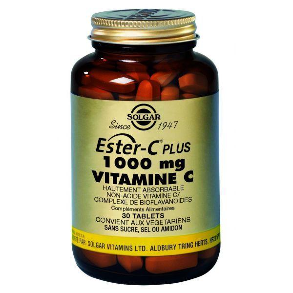 Ester-C Plus 1000 Vitamine C 30 comprimés au meilleur prix  Solgar