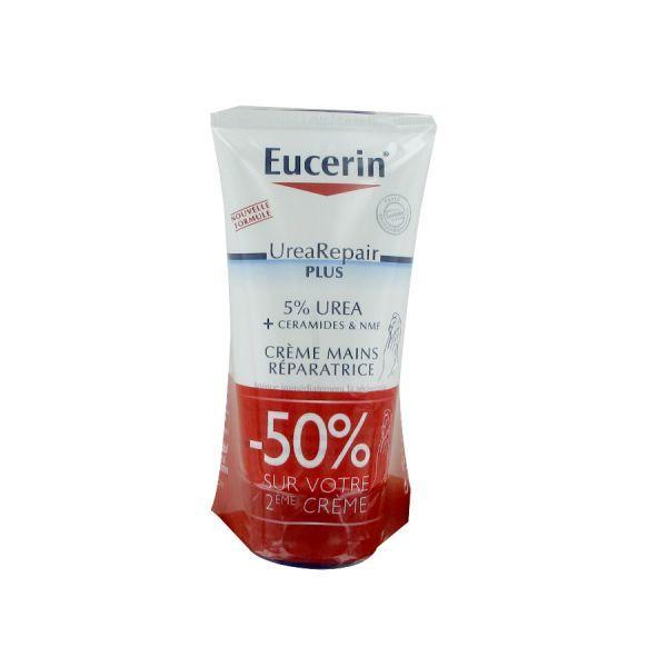 Crème Mains Réparatrice 5% Urée 2X75ml moins cher| Eucerin