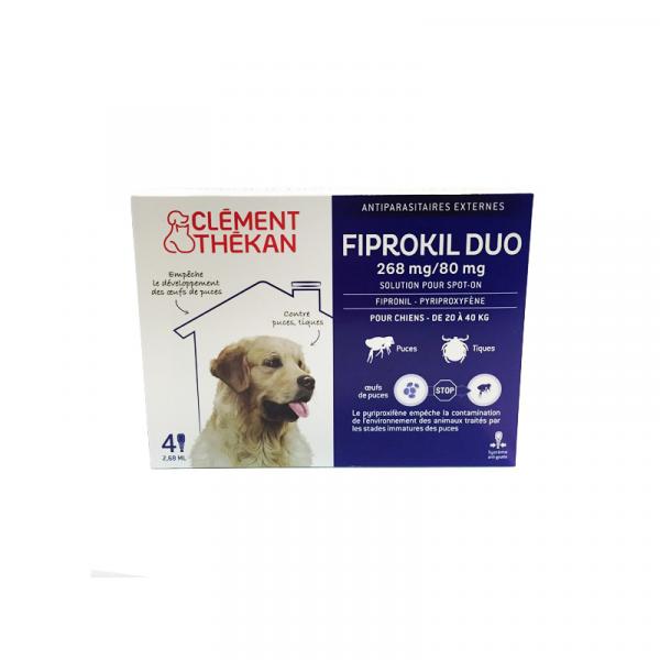 Fiprokil Duo Chiens 20 à 40 Kg x 4 pipettes à prix discount  Clément Thekan