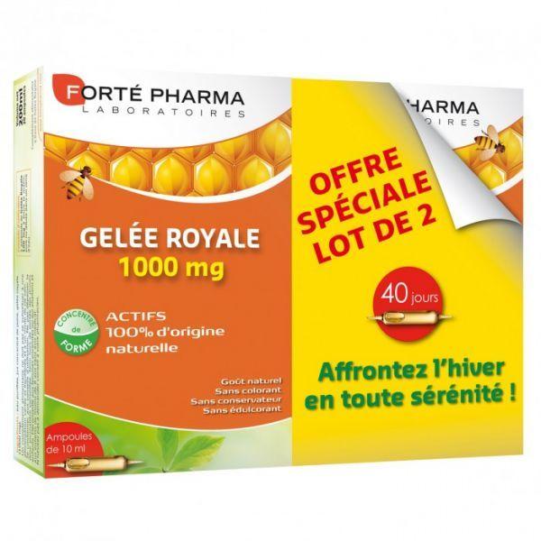 Gelée Royale 1000mg 2X20 ampoules moins cher  Forté Pharma