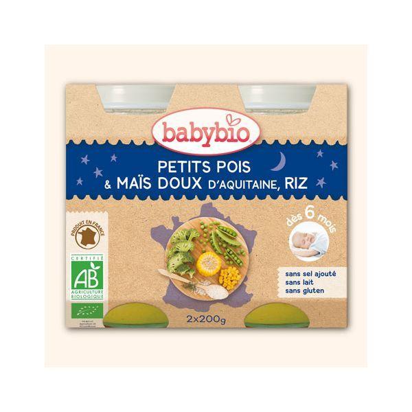 Achetez au meilleur prix les petits pots bio de Babybio aux petits pois, maïs doux et riz