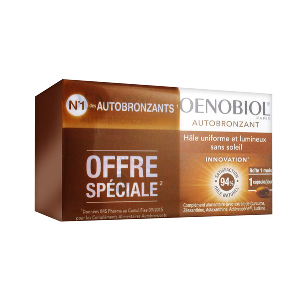Autobronzant lot 2x30 capsules à prix discount| Oenobiol