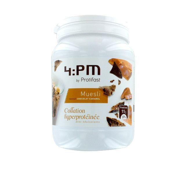 4:PM Muesli chocolat/caramel Pot 450gr au meilleur prix| Protifast
