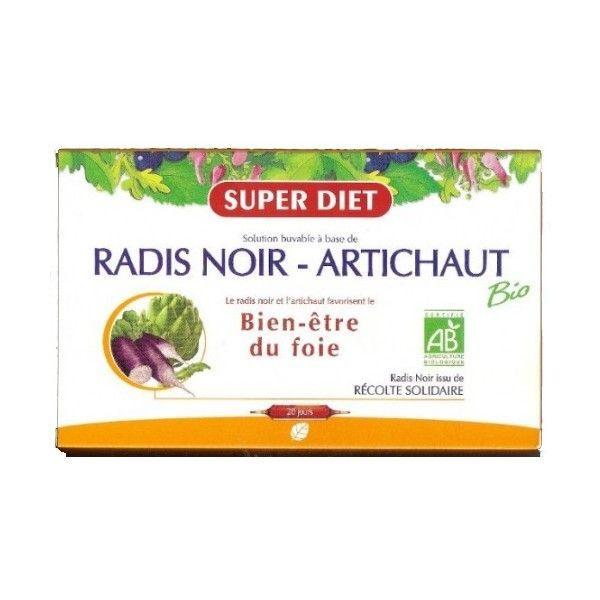 Radis Noir-Artichaut Bio Bien être du foie 20 Ampoules moins cher| Super Diet