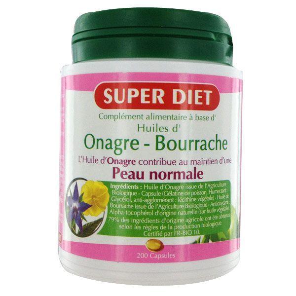 Huiles d'Onagre et de Bourrache 200 capsules à prix discount| Super Diet