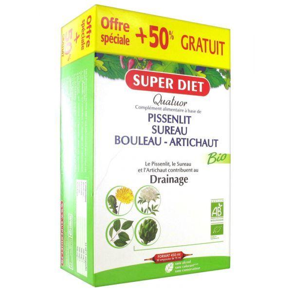 Quatuor Drainage 30 ampoules de 15ml Dont 50% Offert au meilleur prix| Super Diet