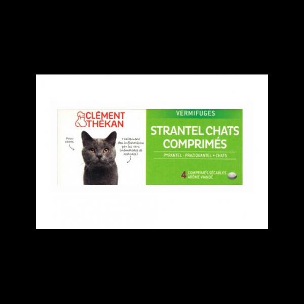 Strantel Vermifuge Chat Goût Viande 4 cp au meilleur prix| Clément Thekan