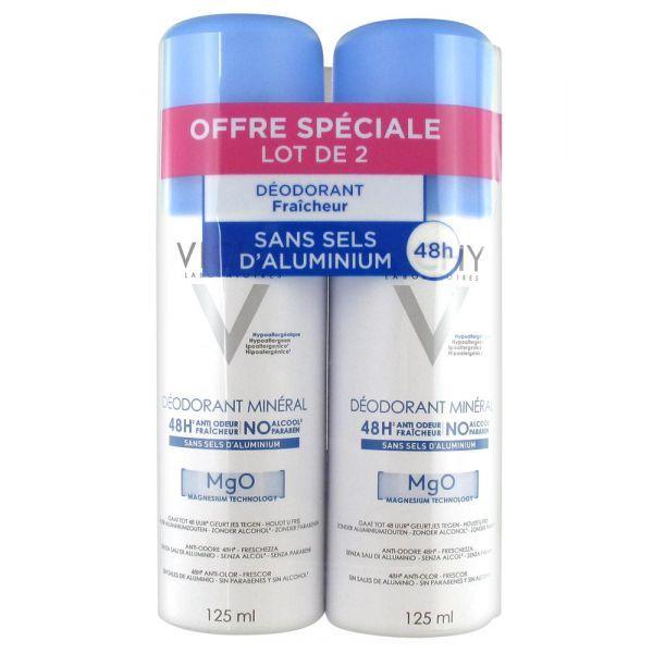 Déodorant Minéral 48 h Spray  2 x 125 ml moins cher  Vichy