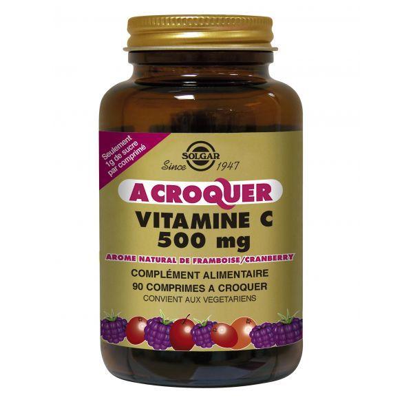 Vitamine C 500mg à Croquer Framboise/Cranberry 90 moins cher| Solgar