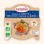 Babybio Assiette Bonne Nuit Fondue de Carotte, Mais Doux, Quinoa 230g