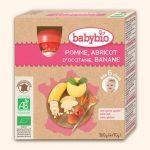 Babybio Gourdes Pomme, Abricot d'Occitanie, Banane 4X90g