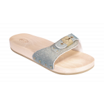 Scholl semelles bois PESCURA FLAT -argent/or/turquoise