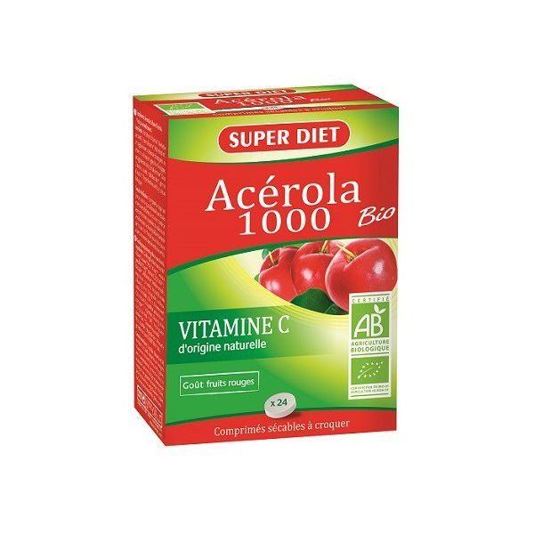 Acérola 1000 Bio 24 Comprimés  au meilleur prix  Super Diet