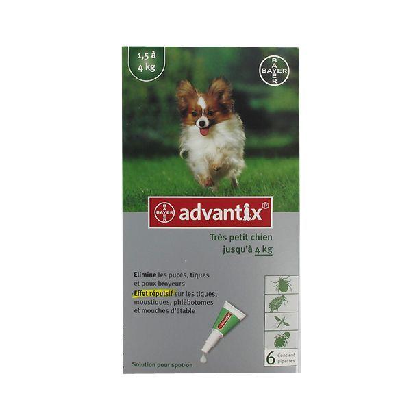 très petit chien jusqu'à 4kg 6 pipettes à prix discount| Advantix