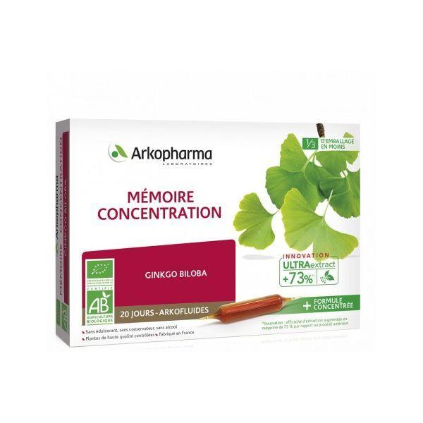 Bio Mémoire Concentration  20 Ampoules moins cher  Arkofluide