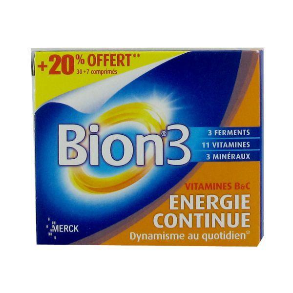 3 Energie Continue 30 comprimés + 7 comprimés OFFERTS à prix discount| Bion
