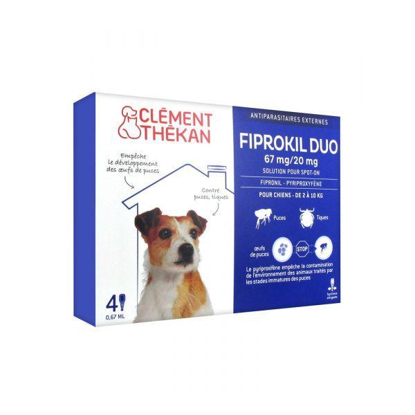 Fiprokil Duo Chien 2 à 10 Kg x 4 pipettes. à prix discount| Clément Thekan