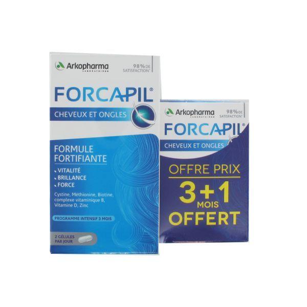 Forcapil Cheveux et Ongles Cure 3 mois + 1 mois OFFERT au meilleur prix| Arkopharma