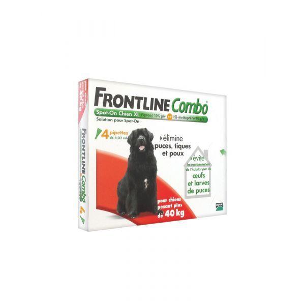 Combo Spot On Chien XL plus de 40 kg 4 pipettes moins cher| Frontline