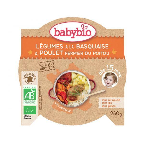 Achetez à prix discount l'Assiette Babybio Légumes à la Basquaise et Poulet Fermier