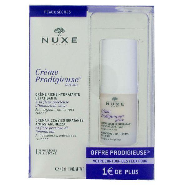 Crème prodigieuse enrichie Soin hydratant et défatigant 40ml + Contour des yeux pour 1€ de plus à prix discount| Nuxe