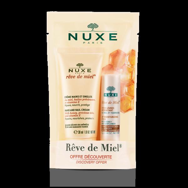 Achetez au meilleur prix le duo Stick lèvres et crème mains Rêve de Miel et Nuxe