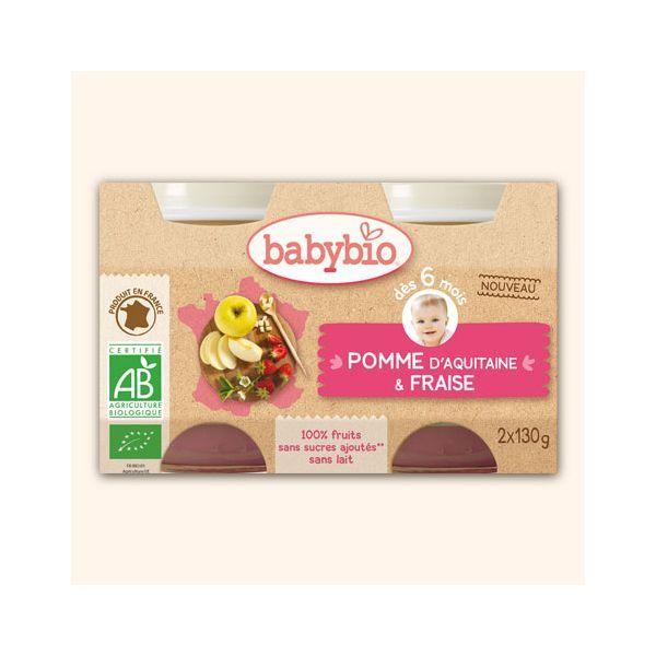 Achetez au meilleur prix les petits pots bio de Pommes Fraise de Babybio