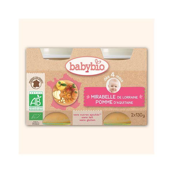 Achetez au meilleur prix les petits pots à la mirabelle de Lorraine bio et aux pomme d'Aquitaine bio de Babybio
