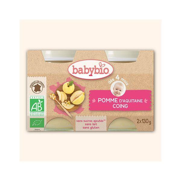 Achetez au meilleur prix les délicieux petits pots Bio de Babybio à la pomme d'Aquitaine bio et au coing bio