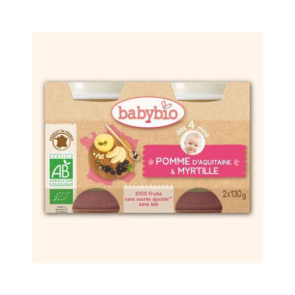 Achetez au meilleur prix les petits pots de pomme d'Aquitaine Bio et de myrtille bio de Babybio