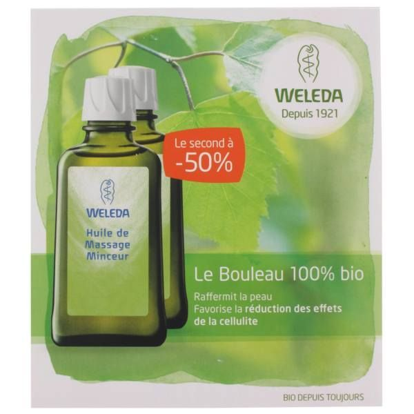 Huile de massage Minceur aux  extraits de bouleau 100%Bio 2x100ml au meilleur prix| Weleda